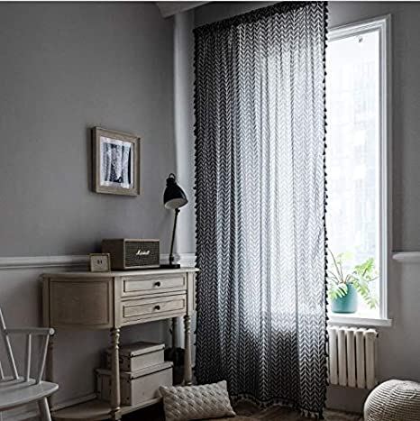 Amazon Co Jp Grey Geometric Curtains Japanese Style Small Window Kitchen Semi Blackout Curtains With Black Fringe Super Beautiful Curtains Home Kitchen