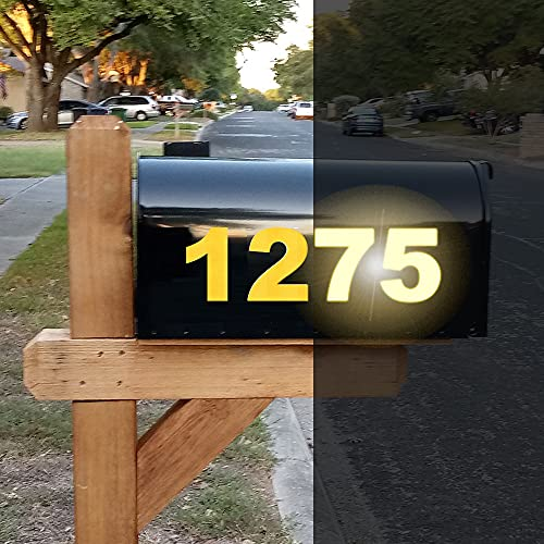 Diggoo 3 Sets Reflective Yellow Mailbox Numbers Sticker Decal Die Cut Bold Gothic Style Vinyl Number 3  Self Adhesive for Mailbox, Signs, Window, Door, Cars, Trucks, Home, Business, Address Number