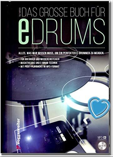 Das große Buch für E-Drums/Elektronisches Schlagzeug für Anfänger (hier bleibt keine Frage offen) mit CD von Ralf Mersch - mit bunter herzförmiger Notenklammer