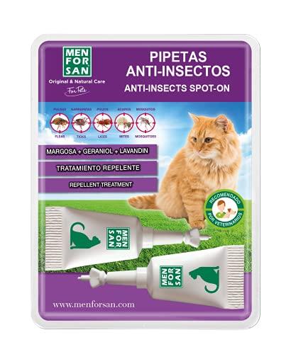 MENFORSAN Pipetas Anti-Insectos Con Margosa, Geraniol Y Lavandino, para Gatos, 2 x 1.5 ml, incoloro ⭐