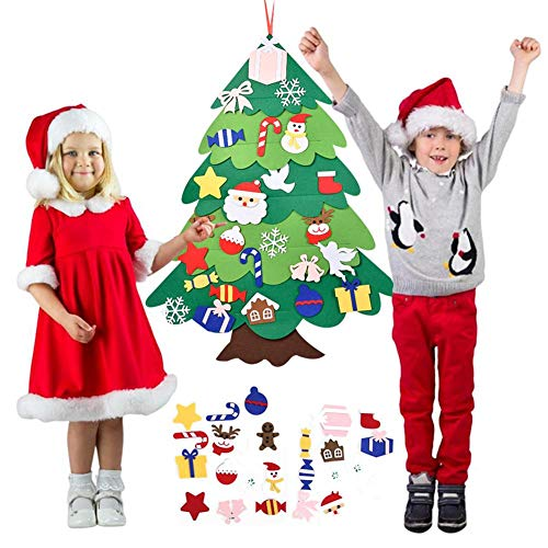 systematiw 3ft Felt Christmas Tree, DIY Wall Christmas Tree with 30 Pcs Detachable Ornaments Wall Decor with Hanging Rope for Toddlers Kids Home Door Decoration