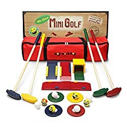 Have you ever bought a kids mini golf game that was made from cheap plastic and broke shortly after your kid started playing with it, leaving you kid in tears? This will not happen with our HIGH QUALITY WOODEN CHILDRENS TOYS! YOUR KIDS AND GRANDCHILD...