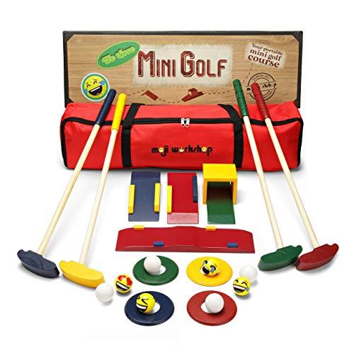 moji workshop Kinder Golfset aus Holz - Crazy Golf und Mini Golf Set - Holzspielzeug für Indoor-, Outdoor- und Gartenspiele