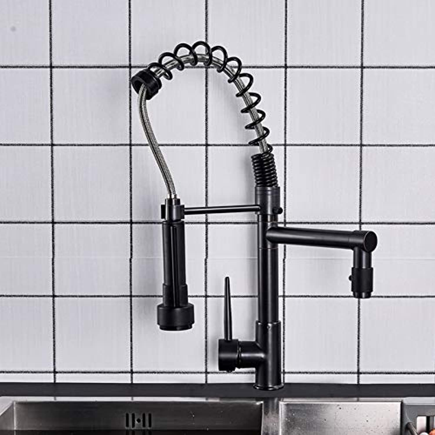 Wasserhahn küche bad Bathroom Kitchen Faucet Single Lever Hot And Cold Water Tap Dual Swivel Spout Kitchen One Hole