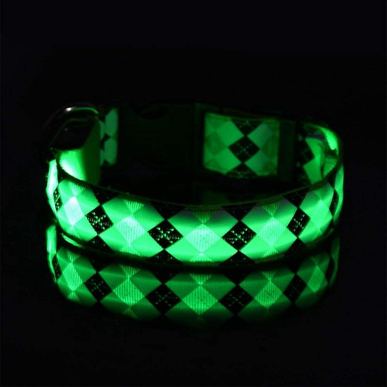 MON5F HOME Pet Led Light Dog Collar Light Collar Dog Belt Pet Chain (color   GREEN, Size   S)