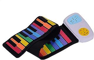 Muslady Piano Enrollable 49 teclas, Teclado Electrónico Llaves de Silicona Vistoso Altavoz Incorporado Juguete de Educación Musical para Niños