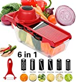 Kintty Mandoline Slicer with 6 Interchangeable Stainless Steel Spiralizer Vegetable Slicer - Slicer Mandoline Cutter - Adjustable Slicer Maker for Low Carb-Free