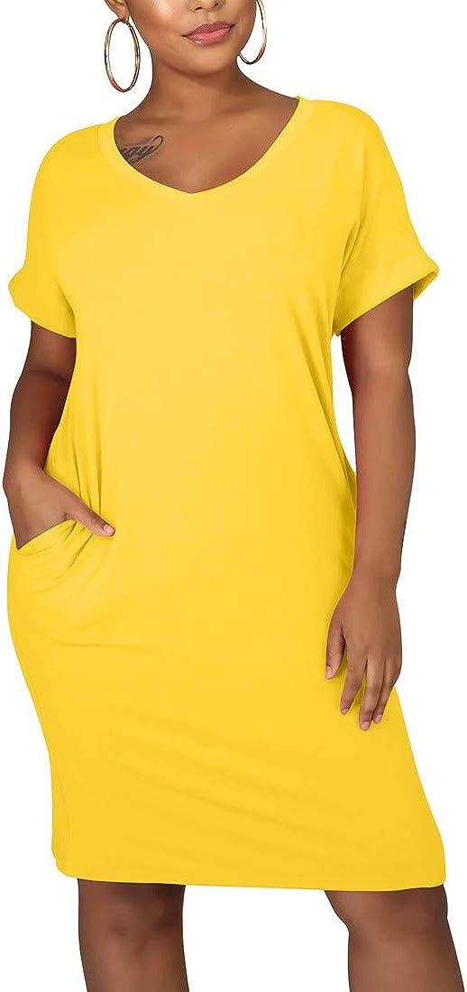 cailami Women's Summer V Neck Short Sleeve Midi Tshirt Dresses Casual Tunic Dress with Pockets