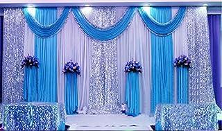 Drei blau Hochzeit Stage Hintergrund Party Drapes, mit Swag Seide Gewebe Vorhang # 021114