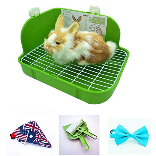 RUBYHOME Rabbit Litter Box Toilet, Plastic Square Cage Box Potty Trainer Corner Litter Bedding Box Pet Pan for Small Animals, Rabbits, Guinea Pigs, Chinchilla, Ferret, Galesaur, 11.4 Inches (Green)