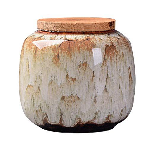Keramik-Lebensmittel-Vorratsdose luftdicht mit Deckel aus natürlichem Bambus, Teedose, Aufbewahrungsdose für Kaffee, Tee, Gewürze und Nüsse, keramik, khaki, Einheitsgröße
