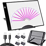 Hawanik Diamond Painting Light Pad Kits with Metal Stand, A4 LED Tracing Light Box with Clamps Diamond Dots Pens for Weeding Vinyl Drawing