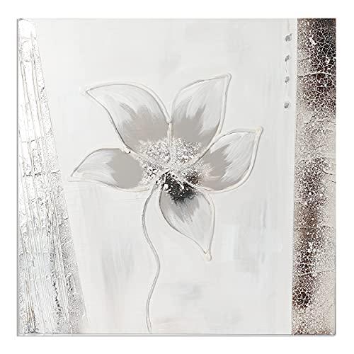 Cuadro Pintado a Mano Flor Blanco Cuadro para Pared Decoración Salon Dormitorio Cuadro Acrilico 50X50 cm - Estilo A