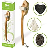 Best Body Brush Exfoliation System for Dry Skin Brushing, Includes Exfoliating Gloves & Konjac…