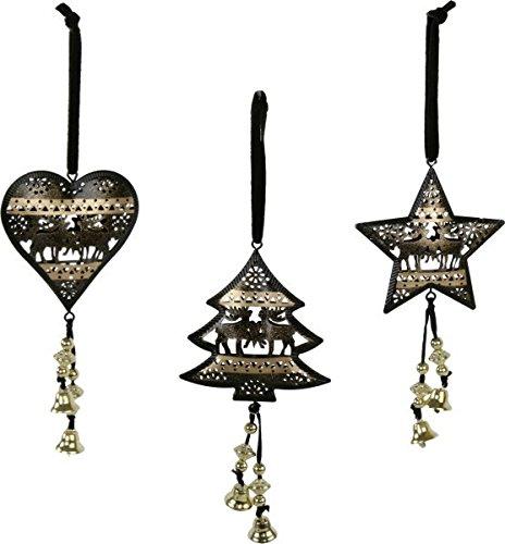 Sapin arbre de Noël Pendentif Noir/doré Lot de 3 étoile, coeur, sapin, 8,5 x 9 cm, avec cloche