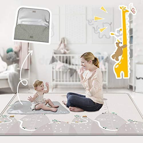 Buyger Baby Krabbelmatte Spielmatte Spielteppich - 1CM Thick - Wasserdicht - Double Sided - Faltbarer - LDPE Plastik - 200 x 180cm - für Innen oder Außenbereich