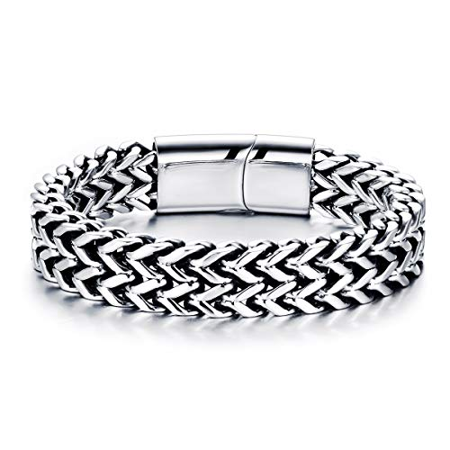 Stainless Steel Bracelet for Men Teens Braided Bracelets Unisex Bangle Cuff Gift 19-22cm (22cm / 8.66'')