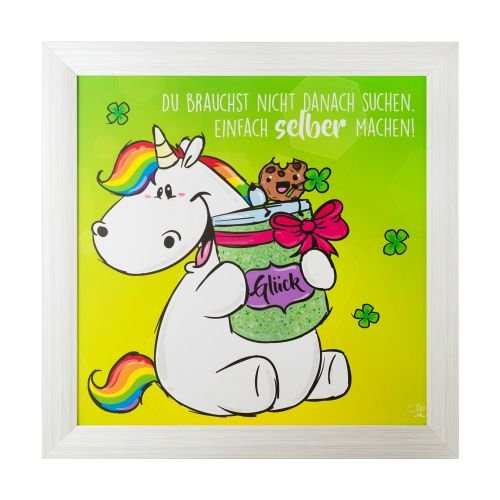 Pummel & Friends - Gerahmtes Deko Bild (mit Glitzereffekt, 50x50cm) - Pummeleinhorn (Glück)