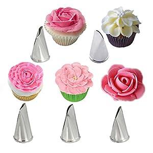 NiceMeet 5 Piezas Acero Inoxidable Flores Pétalo Boquillas Set para Pastelera - Rosa Boquillas de Pastelería para Crema de la Torta, Decoracion de pasteles, Hornear Galletas, Cupcakes #1