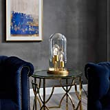 Modway Admiration Vintage Brass Metal and Glass Cloche End Table Lamp