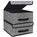 Onlyeasy Foldable Storage Bins Cubes Boxes with Lid - Storage Box Cube Cubby Basket Closet Organizer Pack of Two with Leather Handles for Closet Bedroom, 13'x13', Black, 8MXALB2P