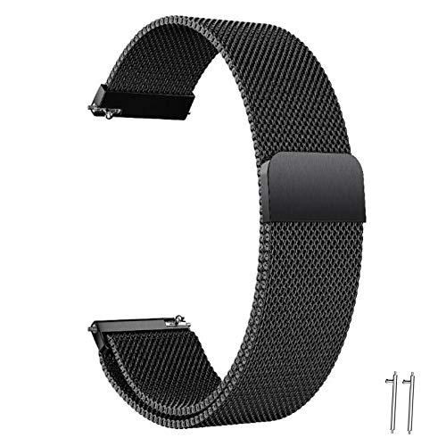 Correa Reloj 20mm 22mm Orejeta Correa Milanesa Reloj de Acero Inoxidable Correa Malla Reloj Magnética Reemplazo de la Banda de Reloj de Pulsera de Acero Inoxidable para Hombres Mujeres(Negro, 20mm)