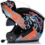 DFBGL Bluetooth Modular Flip up Front Casco de Motocicleta Casco de Moto Integral Ligero con Doble Visera Cascos de Motocross L = 58~59CM (Color: M, Tamaño: XL = 60~61CM)