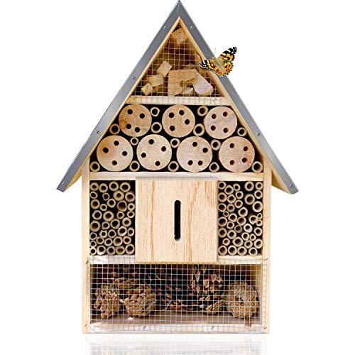 deintierhaus.de© | Insektenhotel mit wetterfestem Metalldach - Nisthilfe für Bienen Marienkäfer Schmetterlinge - Nistkasten & Unterschlupf für Nützlinge - Bienenhotel Insektenhaus | 39,5x23x8,6 cm