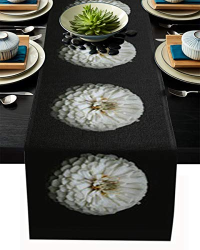 YOKOU Burlap Kitchen Table Runner, 13'x90' Long Table Top Decoration for Everyday Use, Special Occasions, Dinner Parties, White Dahlia Flower