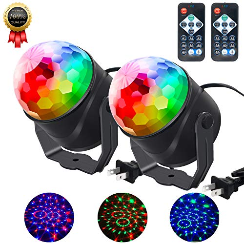 Beetwo Disco Ball Lights, Sound Activated LED Party Light, 7 Colors Disco Ball Lamps Dj Stage Strobe Light for Home Dance Parties Birthday Xmas Wedding Club (2 Pack)