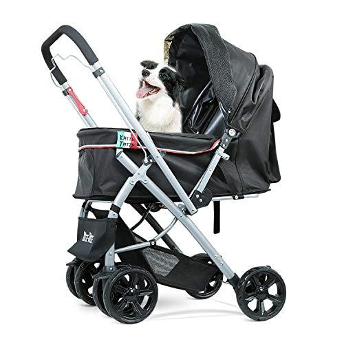 Katze-Tatze Cochecito para Mascotas Perro y Gato 6 Ruedas Grandes Plegable Ahorro de Espacio Función de inversión del asa almacenable para un Peso máximo de 30 KG