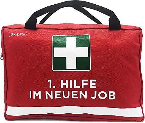 Dakita 1. Hilfe Tasche zum Abschied von Kollegen - 28x18x8cm groß | Lustiges Geschenk zum Abschied von Kollegin zum Jobwechsel | Ideales Abschiedsgeschenk für Arbeitskollegen (Ohne Inhalt, rot)