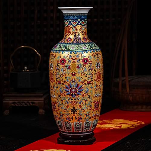 Grande vaso di porcellana tradizionale vaso cinese antico vaso di ceramica con base decorativo vaso di porcellana moderna casa centrotavola colorato cinese vaso-A H46cmxW20cm
