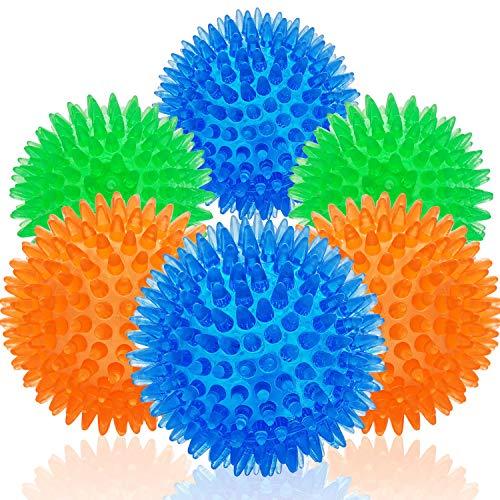 Chlebem - Pelotas de juguete para perros pequeños, medianos y pequeños, resistentes, con pinchos de goma para dentición de mascotas, juguetes para morder y limpiar puñaladas, 6 unidades