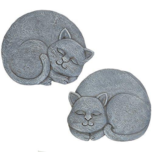 Bits and Pieces - Set of 2 Sleeping Cat Garden Stones, 2 pc - Garden Décor for Lawn, Patio or Yard - Durable Polyresin Garden Stones