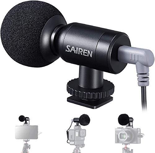Mini Microfono Universale, SAIREN Nano VideoMicro per PC Smartphone, Videocamere Microfono per Fotocamere DSLR e registratori audio portatili Podcast Video intervista
