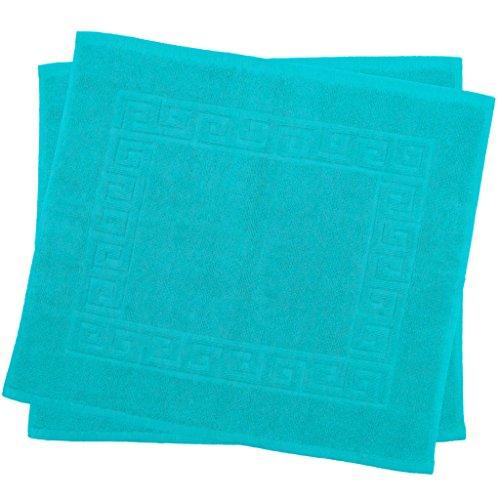 Julie Julsen 2er Pack 50 x 40 cm Badvorleger in Premium Qualität 900 gm2 in aktuellen Farben und 4 Größen aus Baumwolle Badematte Badteppich Duschvorleger Design Spirale Türkis