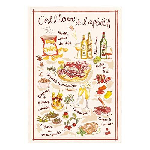 Winkler - Torchon - Torchon de cuisine - Chiffons de nettoyage - Serviette de cuisine - Torchon à vaisselle - Torchon de cuisine 100% Coton - 48 x 72 - Ecru - L'heure de l'apéritif