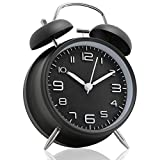 Betus [Non-Ticking 4' Twin Bell Alarm Clock - Metal Frame 3D Dial with Backlight Function - Desk Table Clock for Home and Office - Midnight Black
