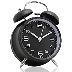 Betus [Non-Ticking 4 Twin Bell Alarm Clock - Metal Frame 3D Dial with Backlight Function - Desk Table Clock for Home and Office - Midnight Black