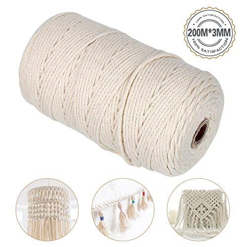 Hospaop Baumwollgarn, Baumwollkordel, Naturliches Baumwolle Garn, Baumwollgarn Baumwollkordel für DIY Handwerk Basteln Wand Aufhängung Pflanze Aufhänger
