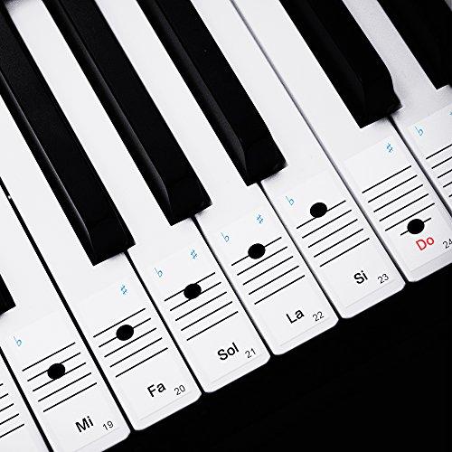 Faburo 2pcs Pegatinas Para Notas musicales transparentes Etiquetas Engomadas Para Teclado de piano 54,61,88 y 2pcs Trapos de piano