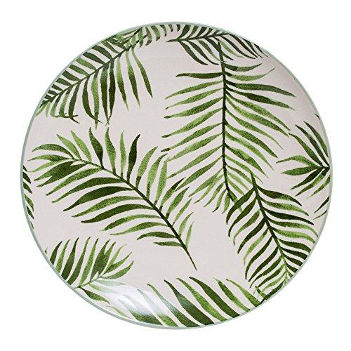 Bloomingville A21106758 Keramik-Teller mit Farn, mehrfarbig