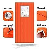 S2F5 - Cortinas de invierno impermeables con aislamiento térmico de algodón para puerta con puertas de ventana de PVC, 2 cm de grosor, Naranja, 100x230cm