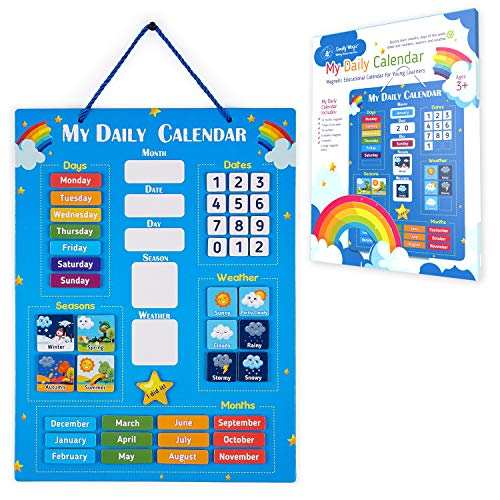 Simply Magic Kids Calendar 2021 - My First Daily Magnetic Calendar for Kids, All About Today Board, Days of The Week Calendar for Kids - Preschool Classroom Calendar for Wall, Circle Time Calendar