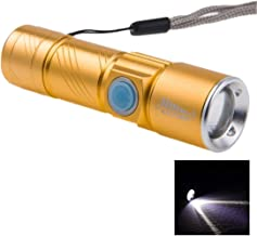 Good-Looking Sturdy Durable Cree Q5 LED 3-Mode White Light Retractable Flashlight with Lanyard Fashion (Color : Gold)