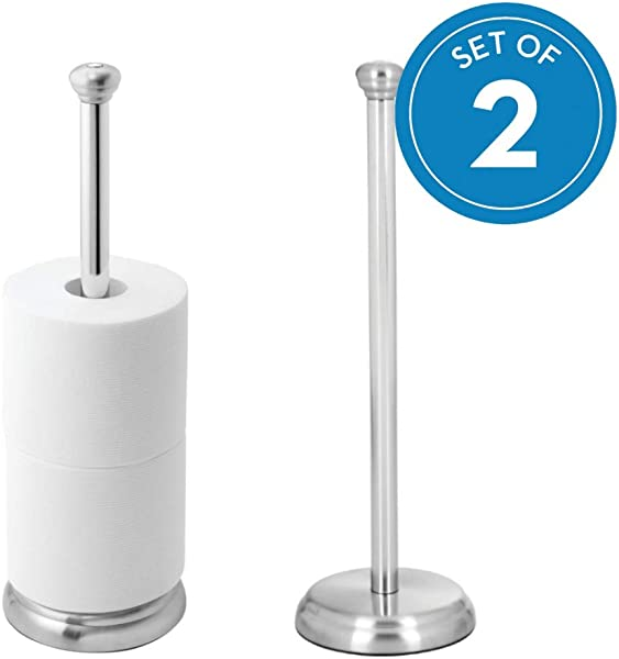 IDesign York Metal Free Standing Toilet Paper Tissue Holder Roll Reserve Canister For Kids Guest Master Office Bathroom 5 X 5 X 16 3 Set Of 2 Brushed Stainless Steel And Chrome