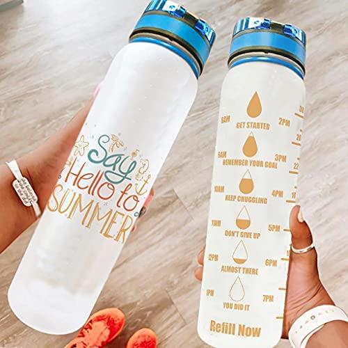 Hothotvery Botella de agua deportiva impresa Say Hello to Summer con marcas de agua, sin BPA, 1 L, para gimnasio, color blanco, 1000 ml