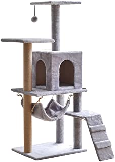 Cat Tree Tower Cat Tree House Cat Tree Condo Cat Scratcher 4.1ft (125cm) Wood Rattan Pet Supplies with Triangle scarf Ver...