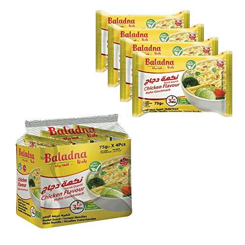 Baladna Nudel Suppe Huhn 75g x 4 instant nudeln für schnelle Zubereitung bei bestem, natürlichem Geschmack – 100 % HALAL